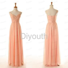 Spaghetti bridesmaid dress  peacdh dress under 100  by Diyouth, $89.99