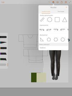 2. Tarkempaan piirtämiseen kannattaa käyttää valmiita kaavioita. Piirtokynistä ylin vastaa teräväkärkistä perustussia, jolla saa tarkkaa viivaa. Tussin koko ja läpinäkyvyys säädetään liu'uttamalla, väri valitaan joko valmiista teemoista, värivalitsemella tai väriympyrältä. Alin piirtotyökaluista on pyyhekumi