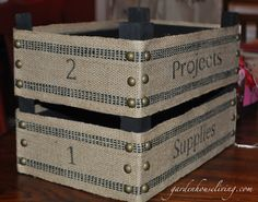 Burlap project Bin - What to do with your Clementine boxes!