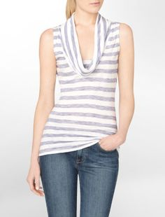 striped cowlneck slub tank top - Sleeveless- Calvin Klein
