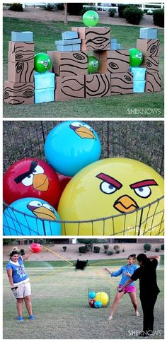 DIY Projects - Outdoor Games - Life Sized Angry Birds Game - Knock down some pigs - So fun for backyard barbecues and parties - DIY project tutorial via sheknows fun games Do it Yourself Outdoor Party Games {The BEST Backyard Entertainment DIY Projects}