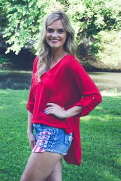 Go Solo Blouse - Red