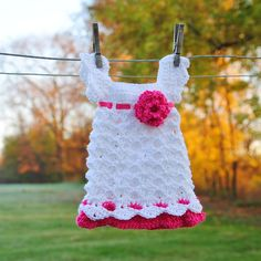 White Hot Pink Infant Dress Baby Girl Outfit Newborn by Kimberose, $40.00