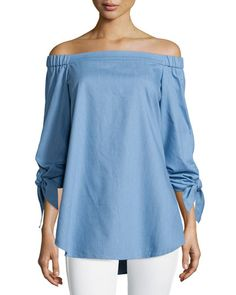 TB8S2 Tibi Tie-Sleeve Chambray Off-the-Shoulder Tunic, Brilliant Denim
