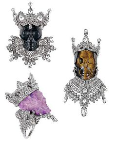 Victoire de Castellane is celebrating ten years designing jewelry at Dior with 20 hauntingly haute skulls. The his-and-hers royal sets—pendants for kings; rings for queens—come in jade and tigereye with diamond crowns, laurel wreaths, and Elizabethan collars.