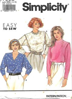 Simplicity 7582 Misses Easy To Sew Dolman Sleeve Blouse Pattern, Size 10-16, UNCUT by DawnsDesignBoutique on Etsy