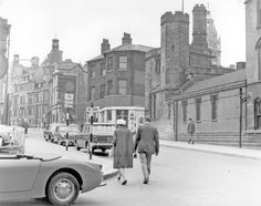 Norfolk Street looking towards Town Hall, buildings belonging to St. Marie's RC Church, right, Rectory Chambers, centre City Rain, Classic Mini, Town Hall, Sheffield, Norfolk, Nostalgia, Street View, Adventure, History