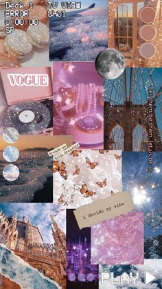 Aesthetic glitter collage