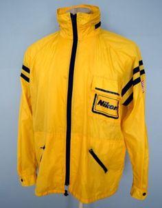 Vintage 80s Nikon NASA Yellow Photographer Windbreaker Jacket Mens