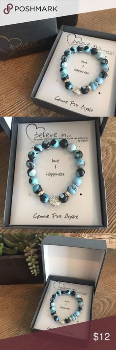 🌀New🌀Believe In Bracelet This Believe In - Love & Happiness is new in the box - never removed.  It has turquoise blue & black faceted stones accented with a rhinestone heart. Jewelry Bracelets