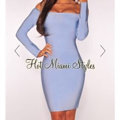 Hot Miami Style Small Blue Shoulder Bandage Dress