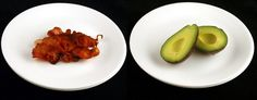 What 200 calories looks like: Fried Bacon (34 grams) vs Avocado (125 grams)