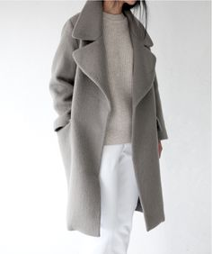 Grey coat | white trousers