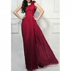 $115.81 Charming One Shoulder Flower and Ruche Design Women's Chiffon Floor Length Evening Dress