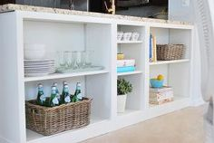 billy bookcase kitchen island storage hack Can also get glass doors from ikea to cover. Kitchen Island Storage, Kitchen Storage Hacks, Ikea Storage, Storage Ideas, Shelving Ideas, Kitchen Cabinets, Storage Solutions, Ikea Shelves, Bookcase Storage