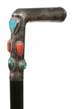 Native American Turquoise and Silver Cane-Mid 20th