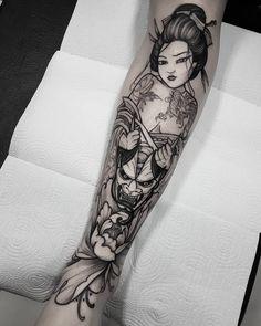 Oni Tattoo, Alien Tattoo, Irezumi Tattoos, Dope Tattoos, Arm Tattoos For Guys, Body Art Tattoos, Sleeve Tattoos, Geisha Tattoo Design, Sketch Tattoo Design