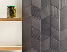 """Tex"" by Raw Edges for Mutina. Premiered at Cersaie 2012. Beautiful files plus random jar of pickles."