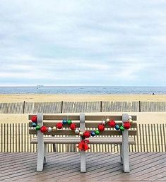 Decked out bench on the beach via Instagram. Beach Christmas, Little Christmas, Great Memories, Coastal Living, Tis The Season, Outdoor Furniture, Outdoor Decor, New Jersey, Pergola