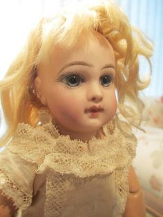 """Antique French Bisque #1 EJ JUMEAU Doll Closed Mouth Straight Wrist Cork Pate 9"""" in  