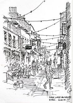 10 x 14.5cm, coloured gel ink pen 0.5, Flask Walk,Hampstead
