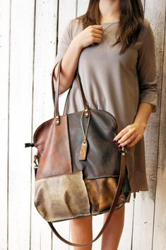 Handmade Italian vintage Leather Tote bag PACH BAG di LaSellerieLimited su Etsy