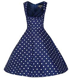 Lindy Bop 'Ophelia' Vintage 1950's Blue Polka Dot Party Picnic Dress (L, Blue)