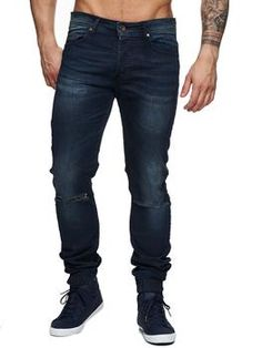 Generic Mens Vintage Skinny Fit Destroyed Denim Knee Open Rips Jeans