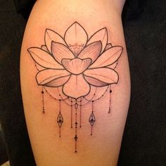 Lotus tattoo. i like the dainty designs underneath the flower- mom sent