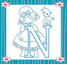 SUNBONNET GIRL ALPHABET COLLECTION MACHINE EMBROIDERY DESIGNS ON CD OR USB