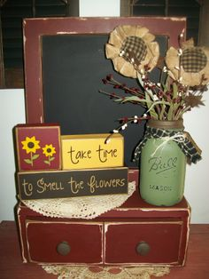 Primitive Distressed Chalkboard ..Spring Sunflower Blocks...Distressed Mason Jar https://www.facebook.com/pages/Busy-Mamas-Place/530524783656423