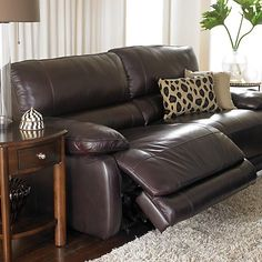 I like this.  It looks big enough for both of us to sit in one chair and recline! I like that! Reclining leather Sofa - for JB