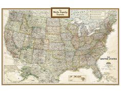 National Geographic 'My U.S.' Personalized Map (Earth-toned)