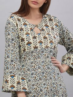 Ivory Green Hand Block Ajrak Printed Cotton Kurta - All About Salwar Designs, Printed Kurti Designs, Simple Kurti Designs, New Kurti Designs, Kurta Designs Women, Kurti Designs Party Wear, Neck Designs For Suits, Sleeves Designs For Dresses, Neckline Designs