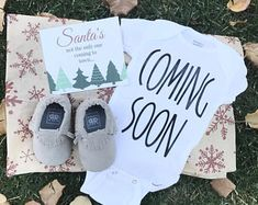 Christmas gift, Coming Soon Onesie box / Moccasins / Pregnancy Announcement / Pregnancy Reveal / holidays / Gift Ideas for Him