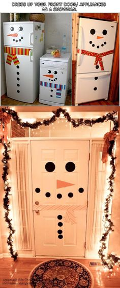 Top Ten DIY Ways To Get Into The Holiday Spirit, crismas ideas decoration, Christmas Mood, Diy Christmas Gifts, Christmas Door Decorations, Holiday Crafts, Top Ten, Chrismas Party Ideas, Snowman Door, Holidays, Crafty
