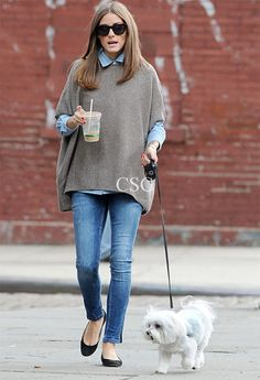 #OliviaPalermo in an oh-so-chic #Vince Short Sleeve Poncho walking her dog in Brooklyn, New York October 27, 2012
