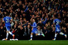 Eden Hazard celebrates his goal with Nemanja Matic and Samuel Eto'o; Chelsea 4 Tottenham 0 (8/3/2014)