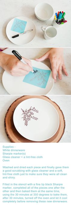 Cool DIY Sharpie Crafts projects ideas - DIY home decor for . - Do it yourself - Cool DIY Sharpie Crafts Projects Ideas – DIY Home Decor for … - Sharpie Plates, Sharpie Crafts, Sharpie Art, Sharpie Projects, Sharpie Markers, Marker Crafts, Black Sharpie, Sharpie Designs, Sharpies On Mugs