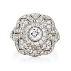 Square dome diamond ring from the Kwiat Vintage Collection in 18K white gold