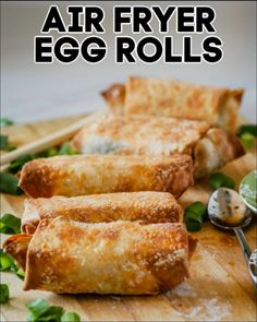 Air Fryer Oven Recipes, Air Fryer Dinner Recipes, Air Fry Recipes, Egg Roll Recipes, Cooking Recipes, Recipes Using Egg Roll Wrappers, Air Fryer Recipes Videos, Vegetarian Egg Rolls, Healthy Egg Rolls