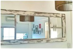 Ventana madera antigua decapada restaurada con espejo by Dolita Antique Windows, Old Windows, Vintage Mirrors, Vintage Frames, Eco Deco, Old Wood, Furniture Makeover, Decoration, Picture Frames