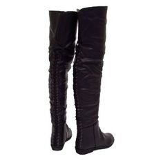 Womens Over Knee High Thigh Boots Black Flat Ladies Corset Boho Pirate: Amazon.co.uk: Shoes & Accessories