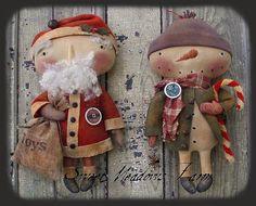 "14 Patrón primitivo ""muñeco de nieve Santa muñeca HoHoHo déjelo nieve"