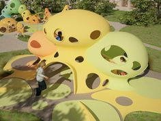 Concept Playground on Behance Natural Playground, Indoor Playground, Children Playground, Kindergarten Design, Kindergarten Projects, Design Maternelle, Cool Playgrounds, Parc A Theme, Library Architecture