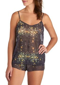 Cosmos Definitely Pajamas - Multi, Novelty Print, Quirky, Exclusives, Sheer, Woven, Spaghetti Straps