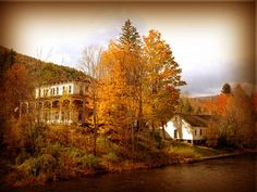 Houses surrounded by scenic fall colors.
