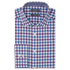 Buy John Lewis Non Iron Check Spread Collar Regular Fit Shirt, Berry/Blue Online at johnlewis.com