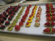 Simple and effective dessert: Little Creme Pattissier Fruit tarts. Pop one in your mouth or maybe 2 more and stay happy :)