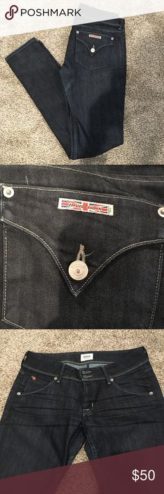 Dark Hudson Skinny Jeans Size 27 Re-poshing these amazing jeans! Size 27 in great condition! Slight stain on back but it's barely noticeable. Hudson Jeans Jeans Skinny